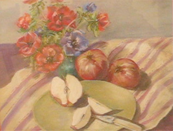Lyn Sutton, Anemones and Apples