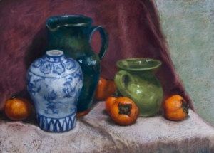 Margarita Riakkenen, Still Life with Persimmons