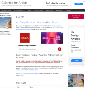 Calendar for Artists | Pastel Society of Victoria, Australia