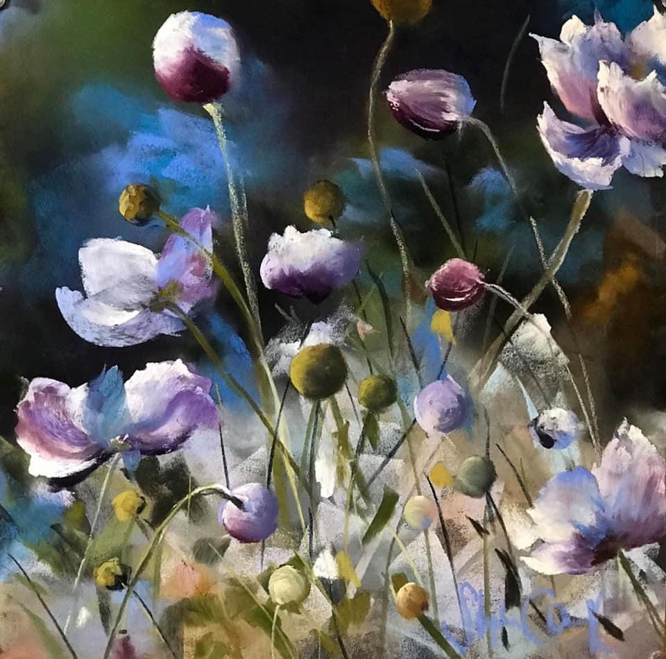 Stephie Clark - Japanese Anemones | Pastel Society of Victoria, Australia